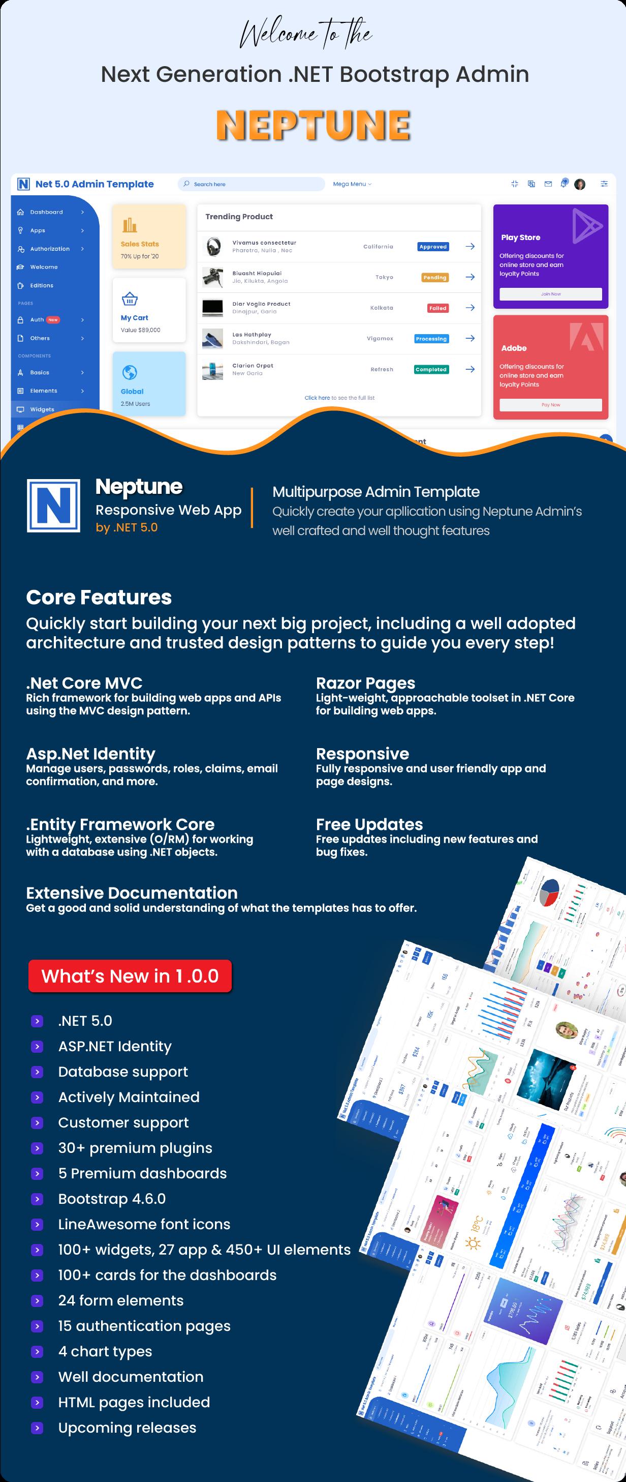 Neptune Admin Template for Asp.Net Core - 1
