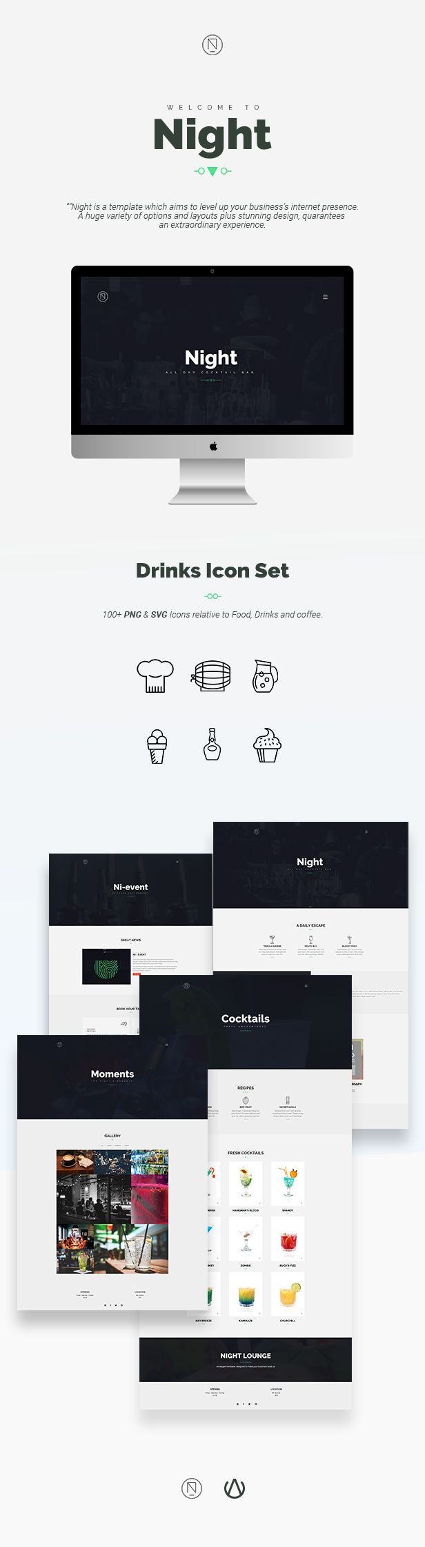 Night | Cocktail Bar / Cafe Bootstrap Template - 1