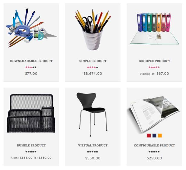 Stationery - 6 product types