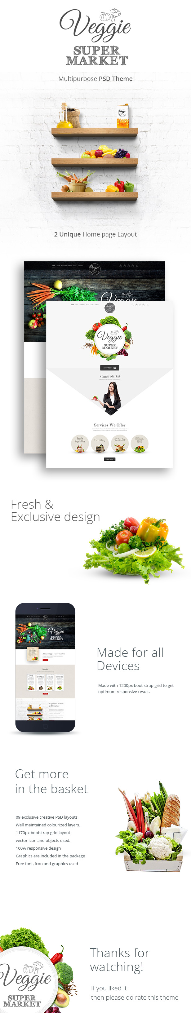Veggie Super Market | Multipurpose PSD Template - 2