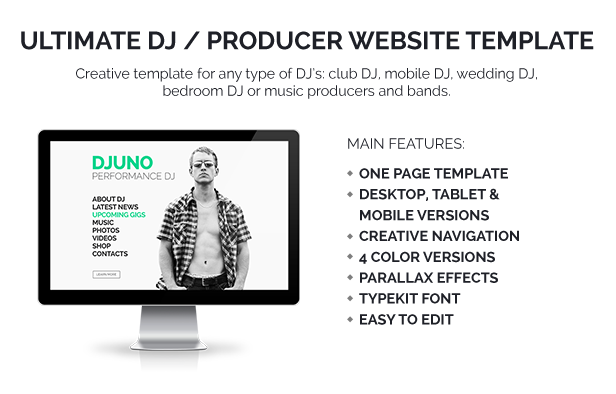 DJuno Ultimate DJ Producer Muse Template By Vinyljunkie - Fresh artist bio template design