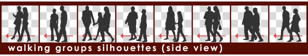 Silhouette Sitting Two Persons and Waiter - 3