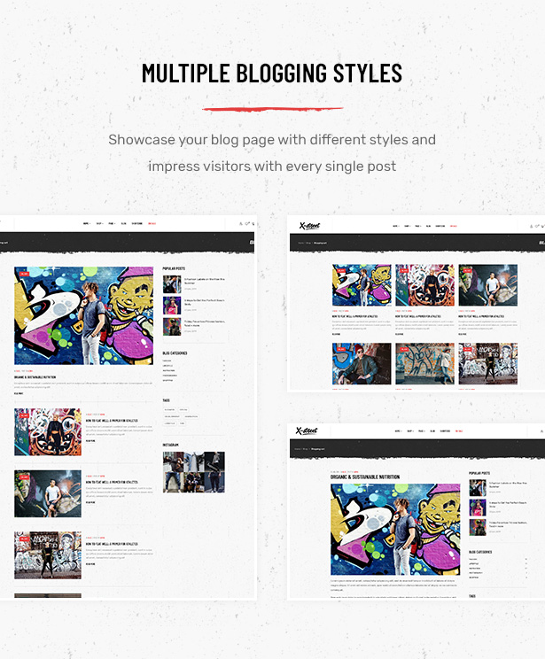 Multiple Blog Page Layouts in Striz Fashion Ecommerce WordPress Theme