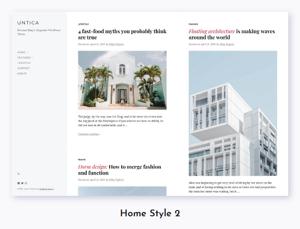 Untica - Personal Blog & Magazine WordPress Theme - 2