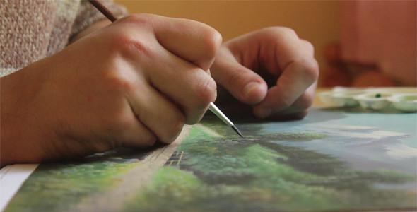 Artist Painting Nature Landscape