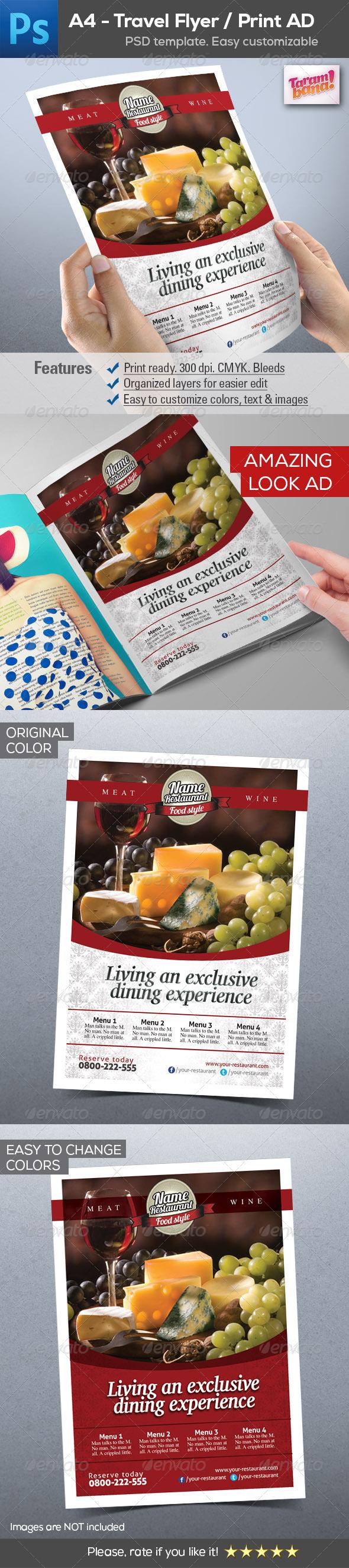 A4 Restaurant Flyer / Print AD layout