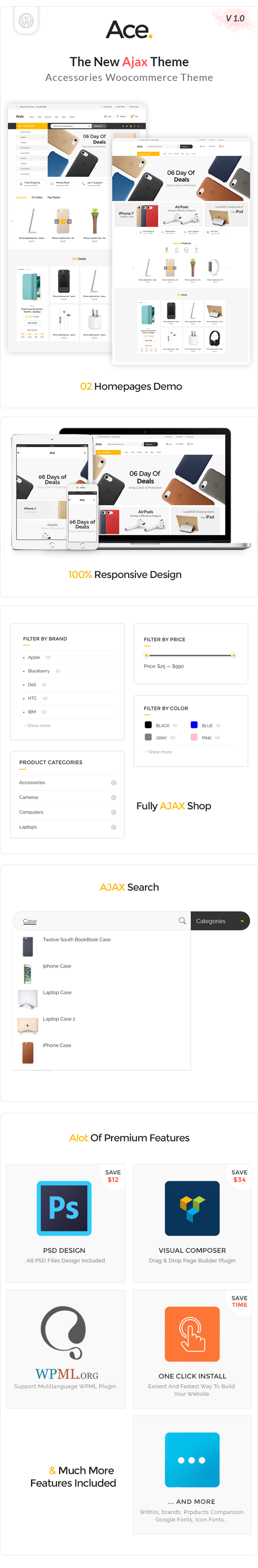 Ace - Accessories AJAX Woocommerce Theme - 1