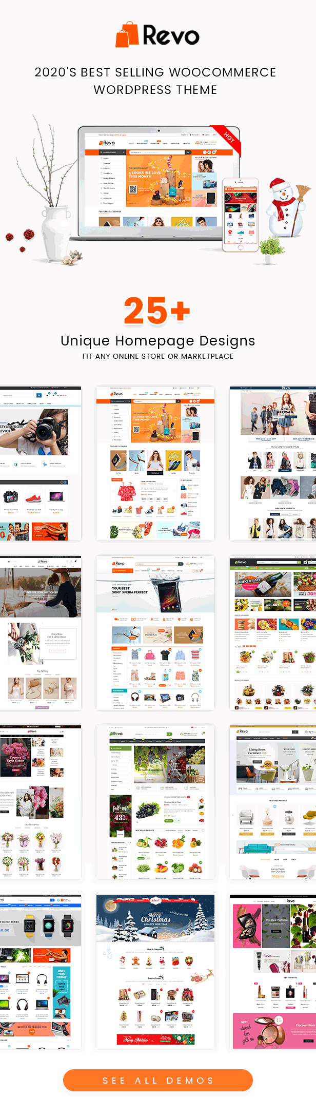 Homepages of Revo Best Multipurpose WooCommerce Theme