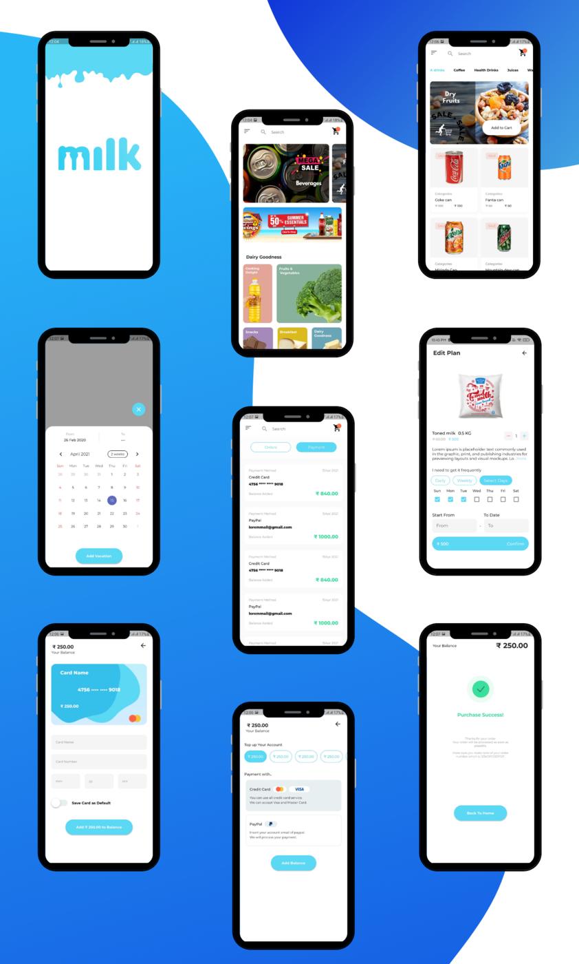 Kit de interfaz de usuario de la aplicación Flutter de suscripción de leche: comestibles, agua, verduras - 4