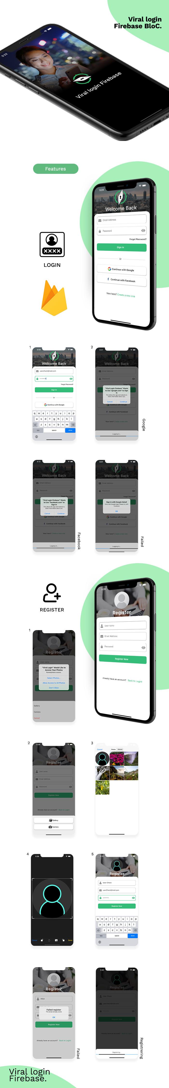 Viral Login Firebase BloC Full App - 1