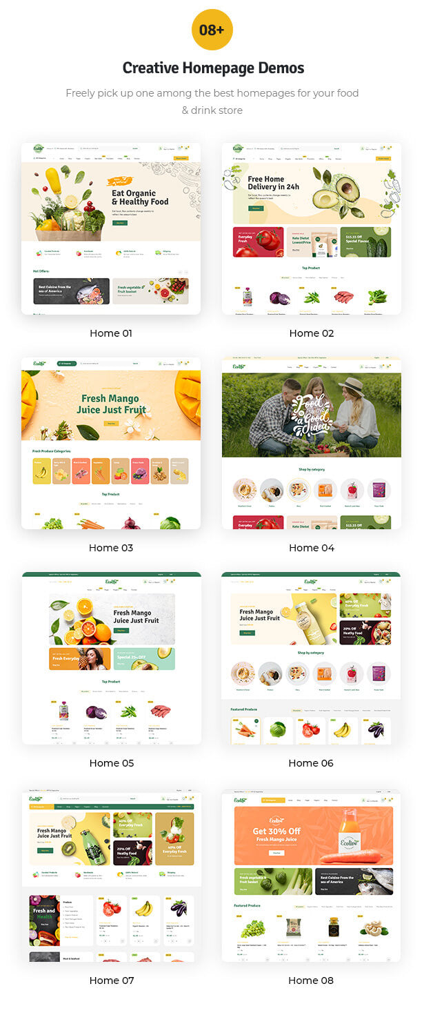 08+ creative homepage demos Freely pick up one among the best homepages for your food & drink store