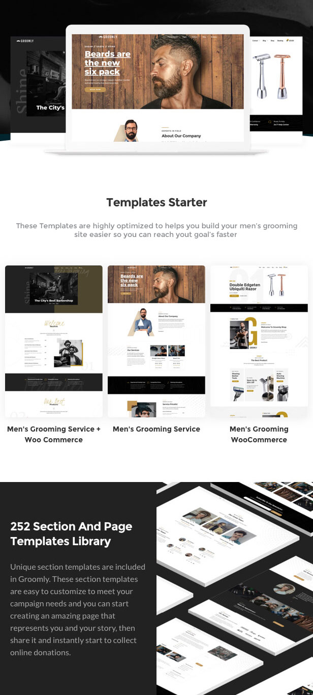 Groomly - Men's Grooming Scheduling & Reservation WordPress Theme - 1