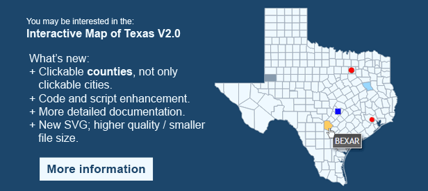 Interactive Map of Texas - Clickable Counties