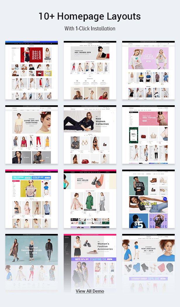 10 homepage layout in 1 theme package only