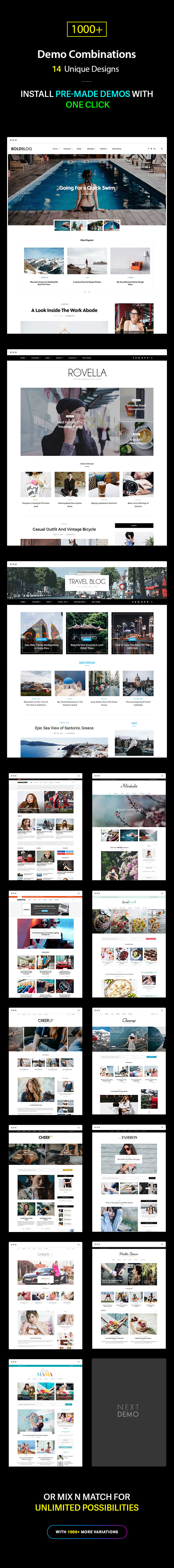 Multiple Blog and Magazine Layouts, 13+ Unique Designs
