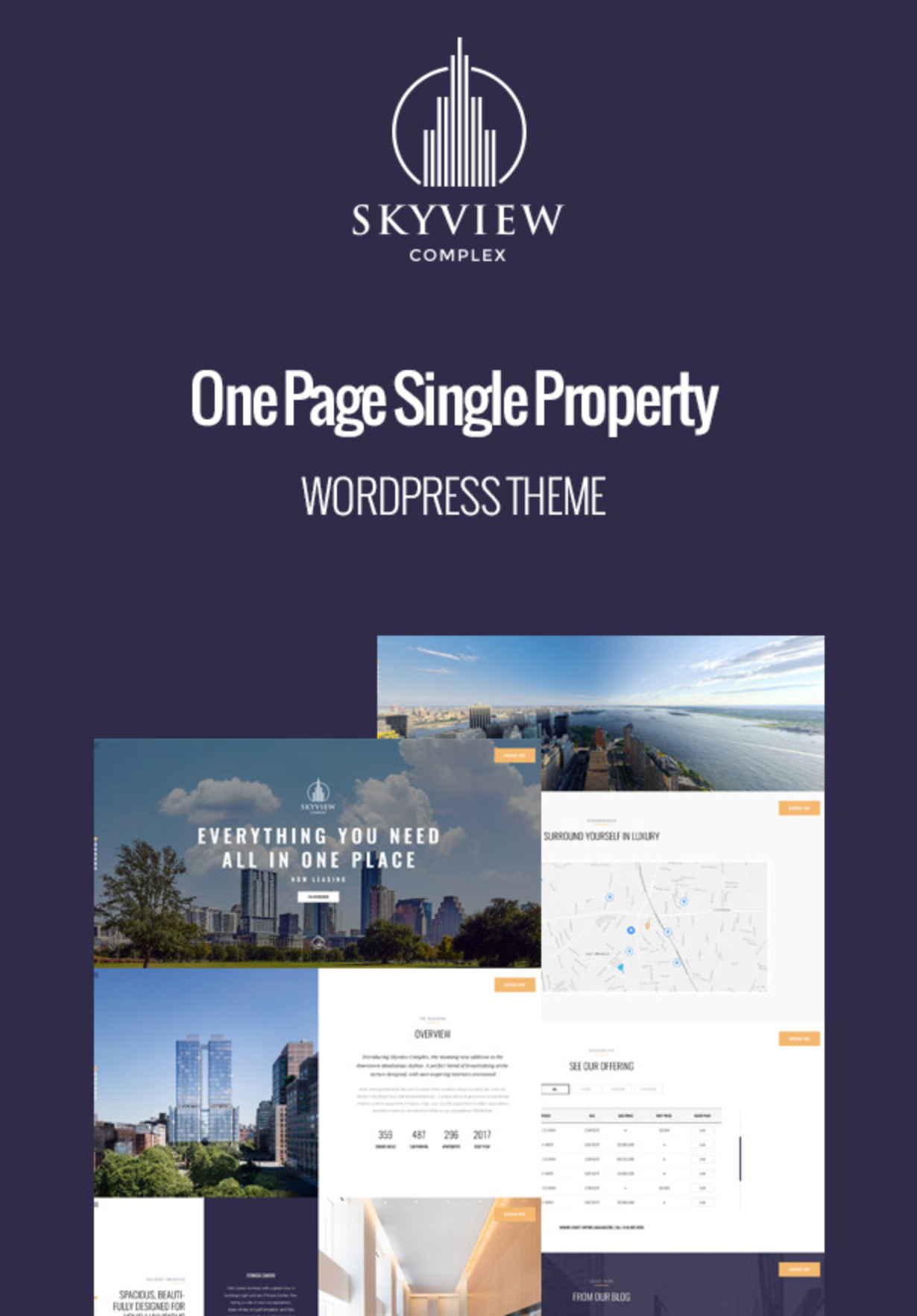 Skyview Complex Best One Page Single Property & Real Estate WordPress Themes