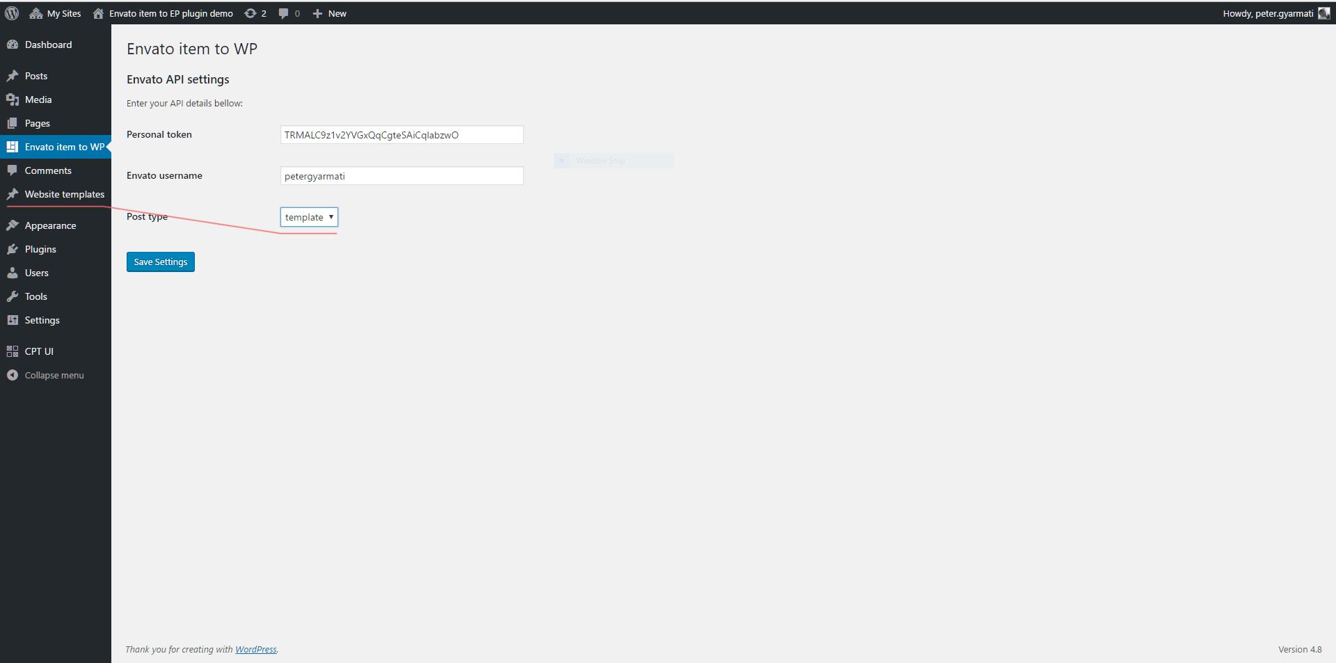 Envato item to WordPress options