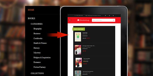 Off-canvas layout in responsive Magento theme JM Bookshop