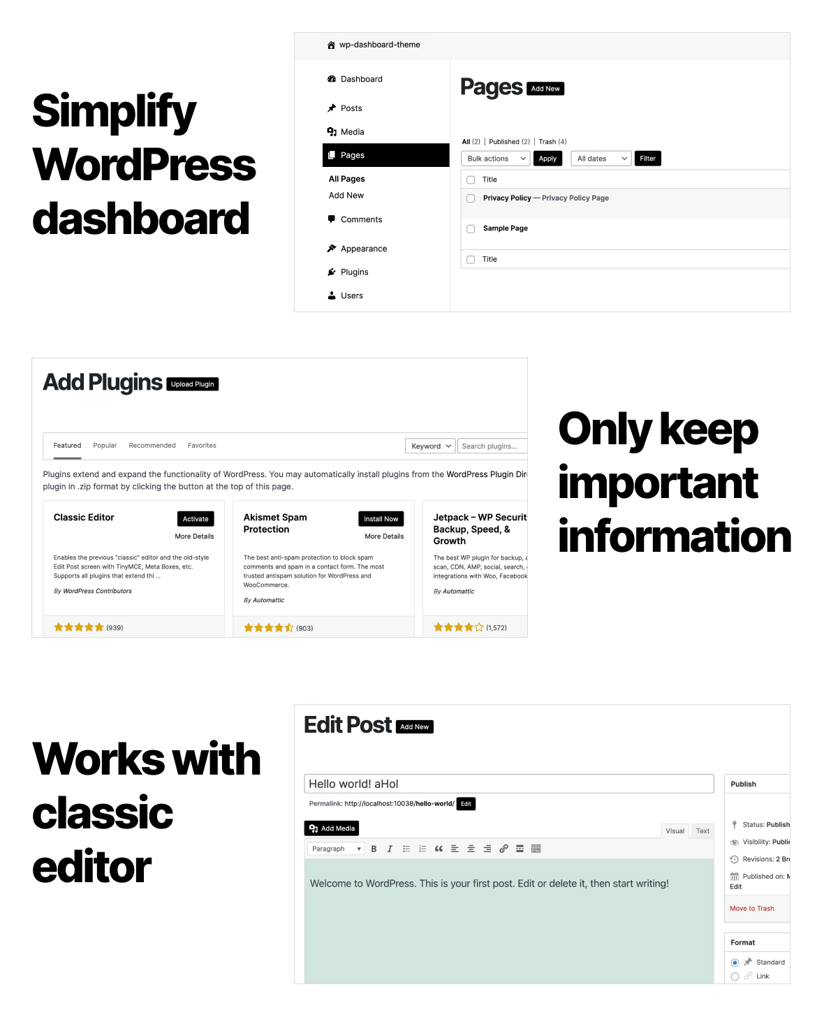 Simple Dashboard Theme / Admin Theme for WordPress - 1