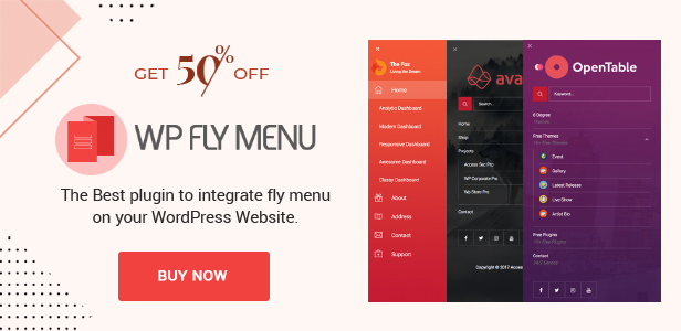 WP Fly Menu Discount banner Launch Offer - 50% off