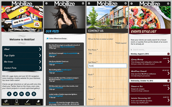 Mobilize - Touch Optimized Mobile Template - 2