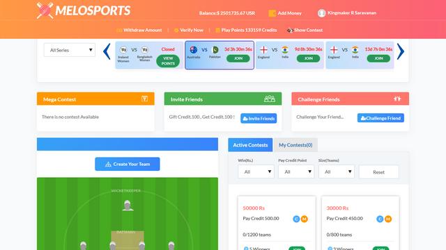 MeloSports - Fantasy Cricket Laravel Software Php Script