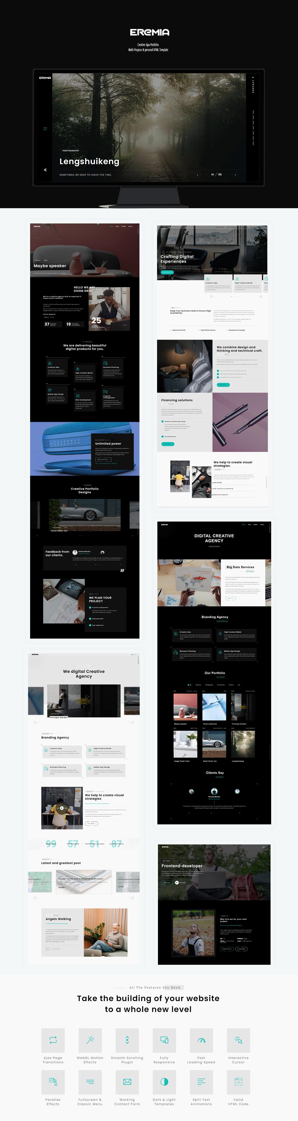 Eremia - Creative Ajax Portfolio Multi-Purpose & personal HTML Template - 1