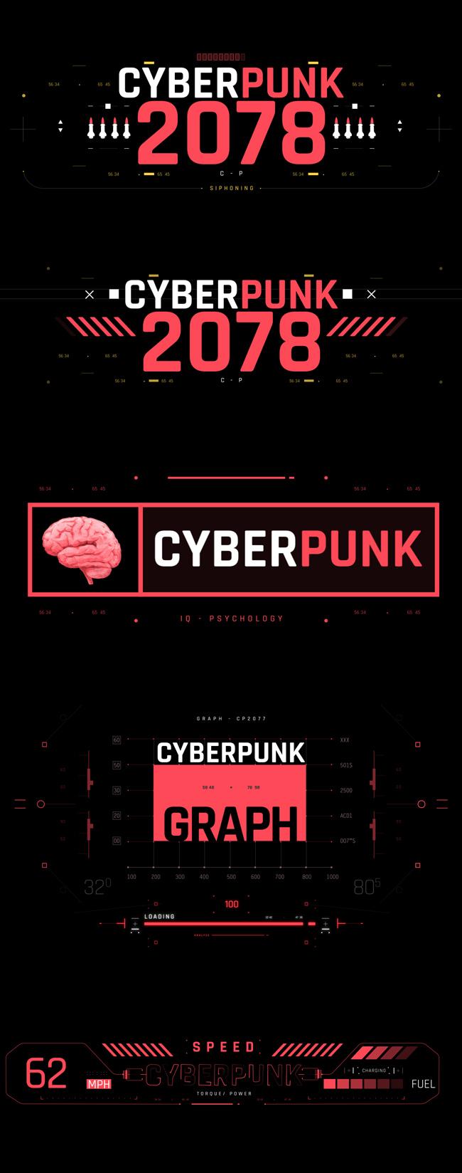 AE脚本-500个HUD高科技赛博朋克UI科幻界面元素动画预设包 Cyberpunk HUD UI 500+ 已修复中文版AE表达式报错插图6