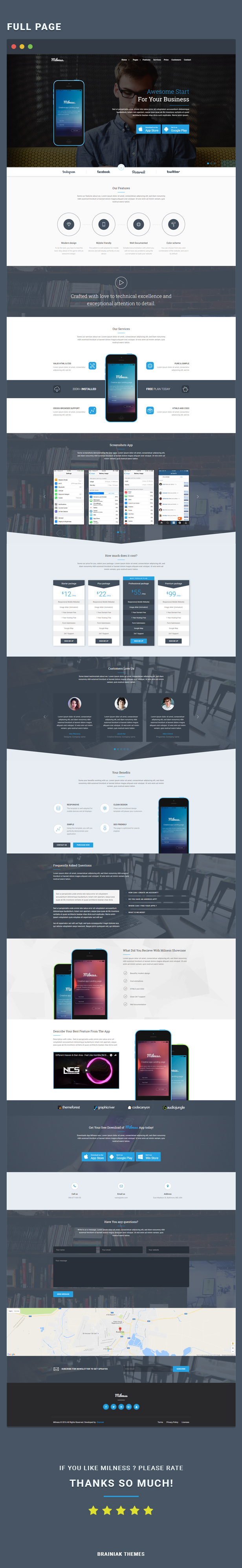Milness - Showcase Mobile App WordPress Theme