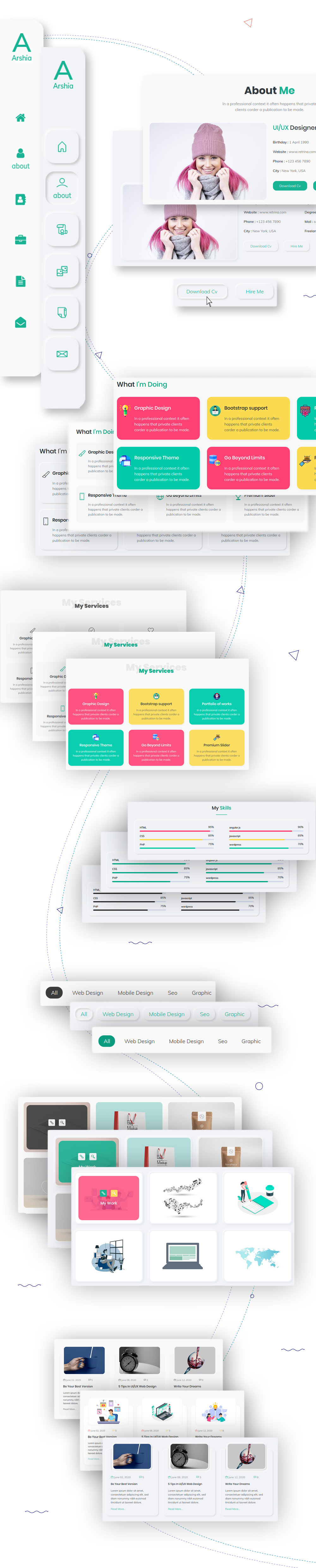 arshia neomorphism bootstrap 4 personal template