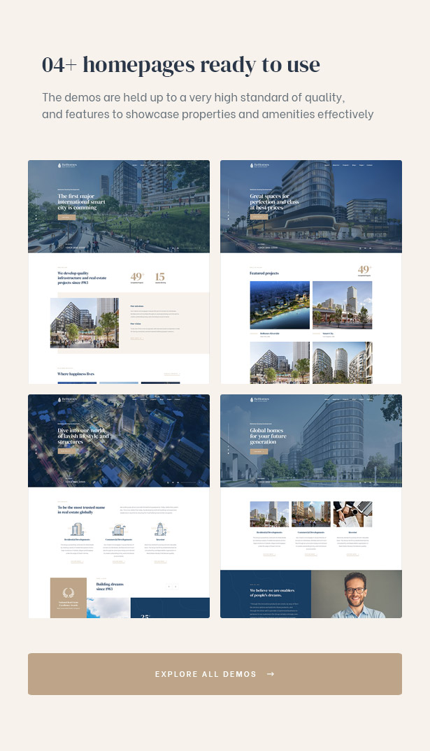Provide you four demos to build an amazing site for real estate