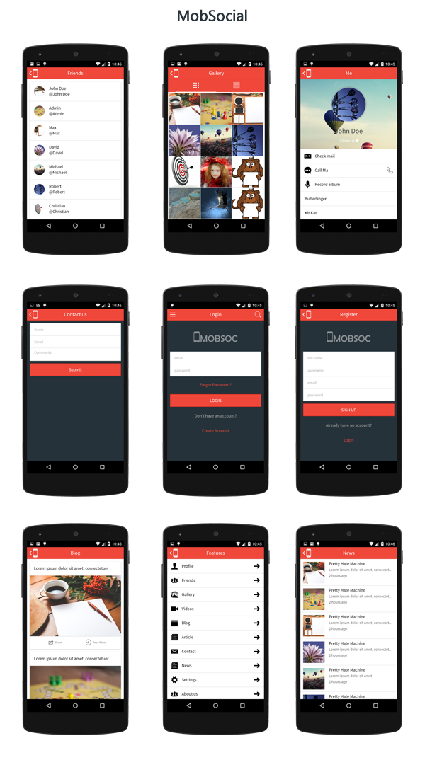 Mobsocial ionic cordova phonegap hybrid app template and for App press release template