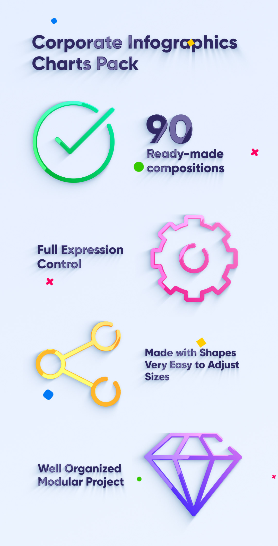 Corporate Infographics Charts Pack - 1