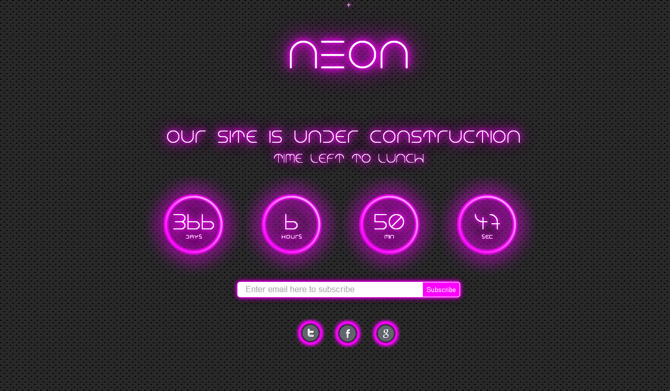 Neon - Responsive Under Construction Page - 1