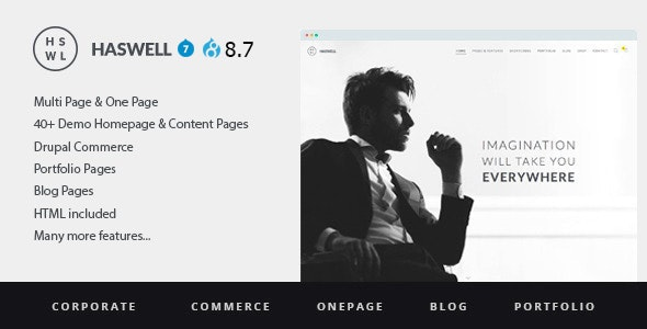 Haswell - Multipurpose One And MultiPage Drupal Version 8.7 & Drupal 7.6 Theme