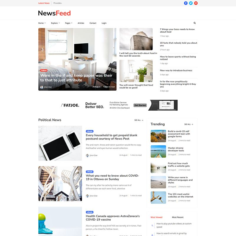 Newsfeed - Responsive News Magazine Bootstrap 5 Jekyll Theme - 4