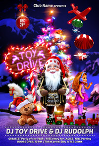 toy drive party flyer template by gugulanul graphicriver