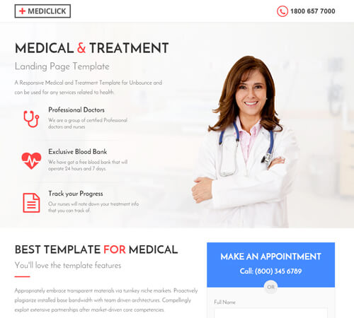 Medical, Spa, Yoga & Fitness Landing Page Template by surjithctly