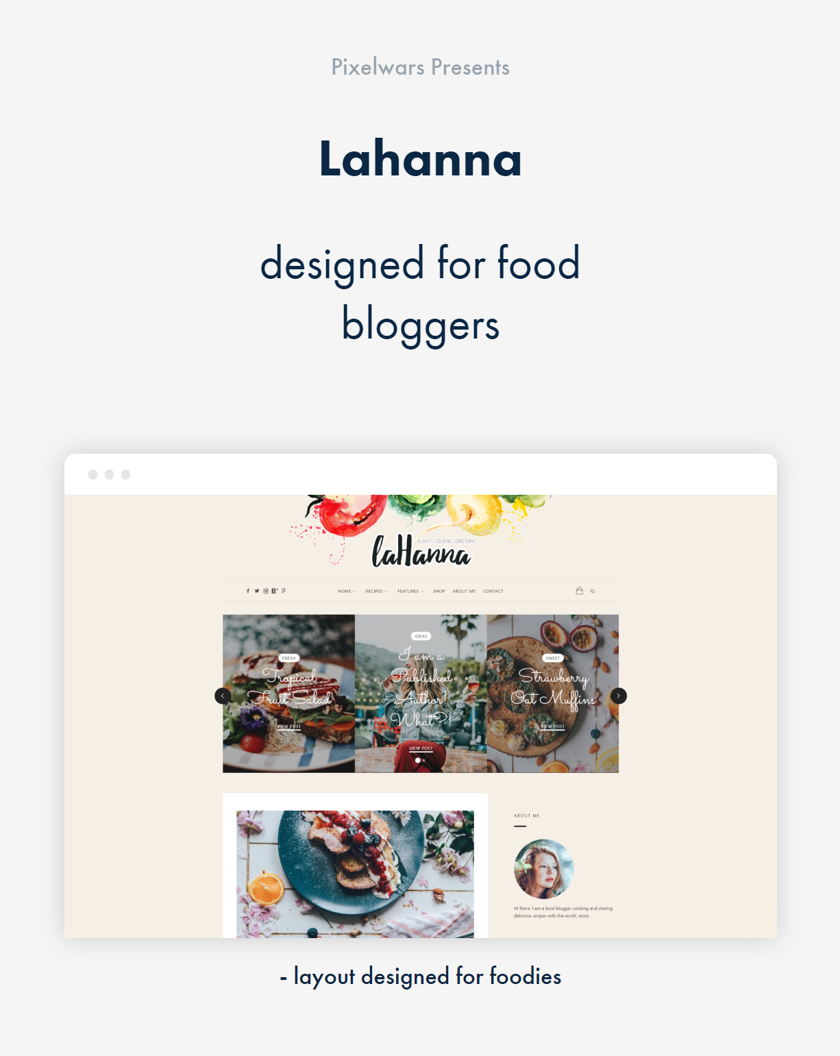 item by pixelwars - lahanna wordpress food blog theme for food bloggers