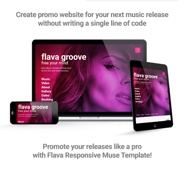 flava album single release promo and dj music band responsive muse template by vinyljunkie. Black Bedroom Furniture Sets. Home Design Ideas