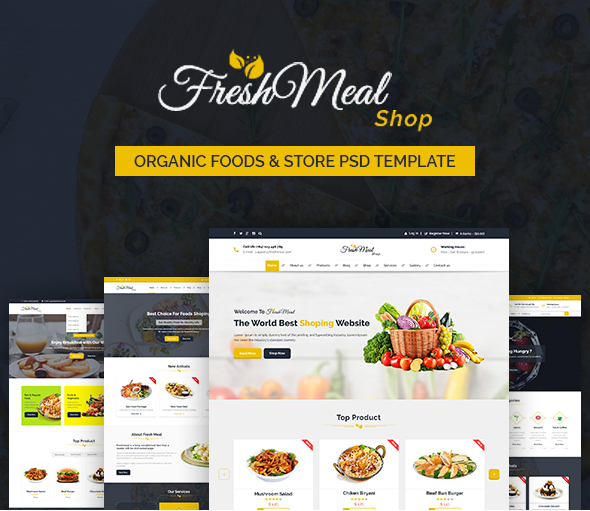 FreshMeal - Organic Foods & Store PSD Template