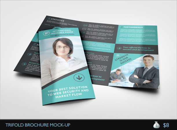 Gate Fold Brochure Mockup. Psd Double Gate Fold Brochure Vol5