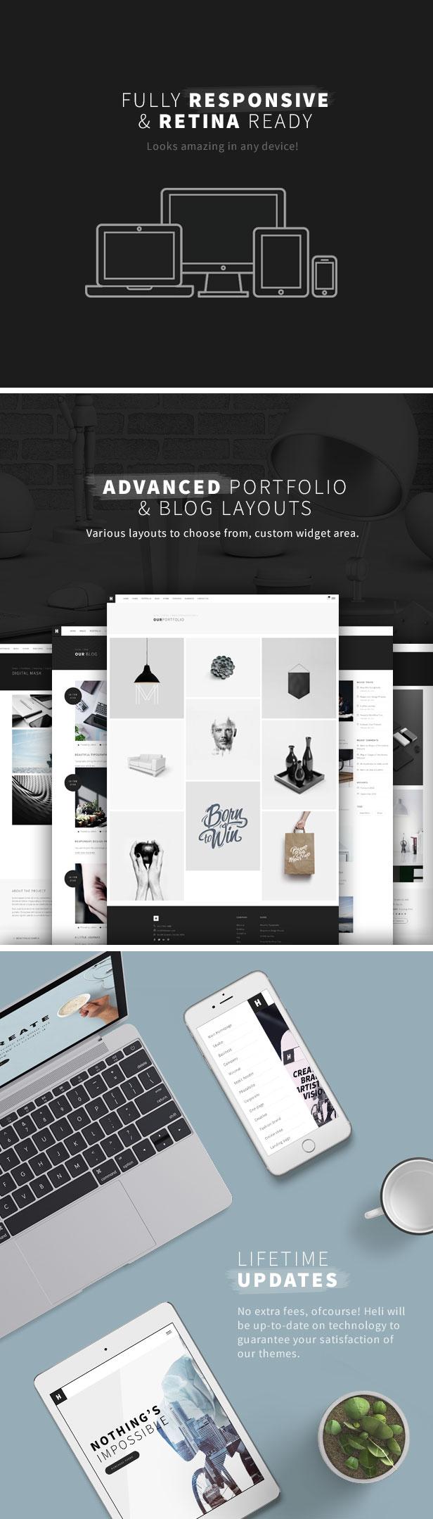 rMinimal Creative Black and White WordPress Theme - esponsive & retina
