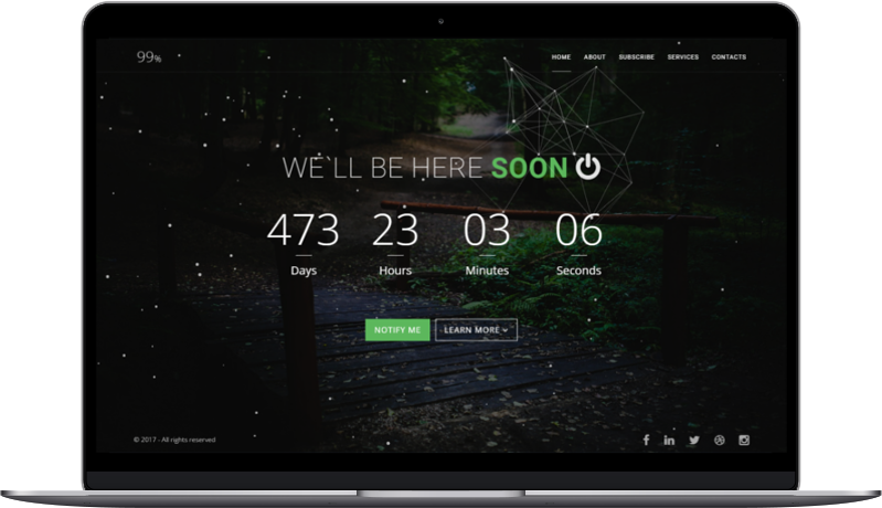 99% - Responsive Coming Soon Page HTML