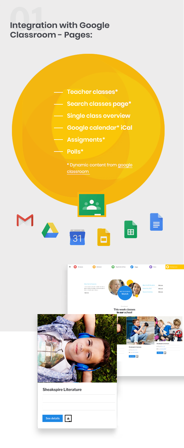 Superwise - Modern Education and Google Classroom Theme