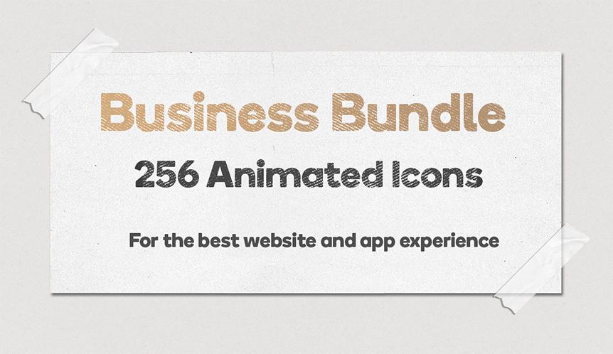 Business Bundle 256 Animated Lottie Icons - Ecommerce Marketing Office Discount - 1