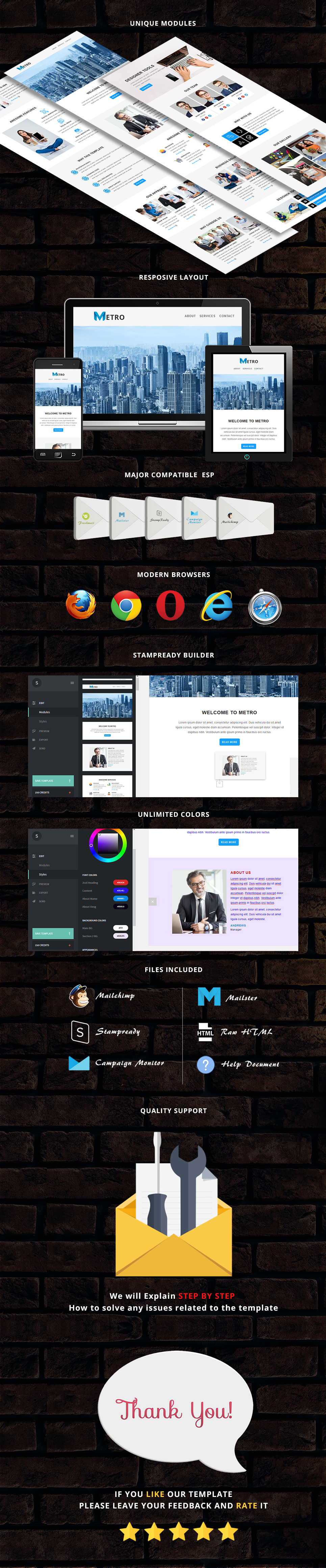 Metro - Responsive Email Template + Stampready Builder