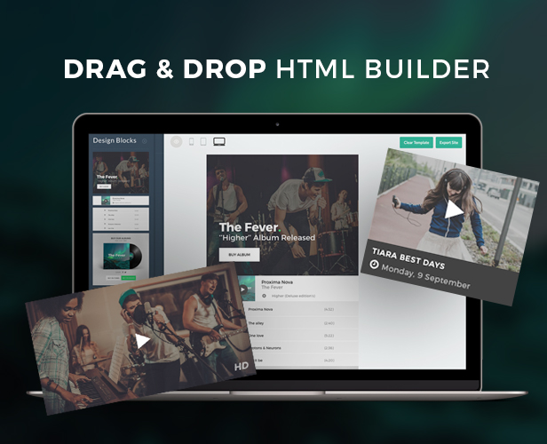 Fever - Music Email Template + Builder Access by eeemon | ThemeForest