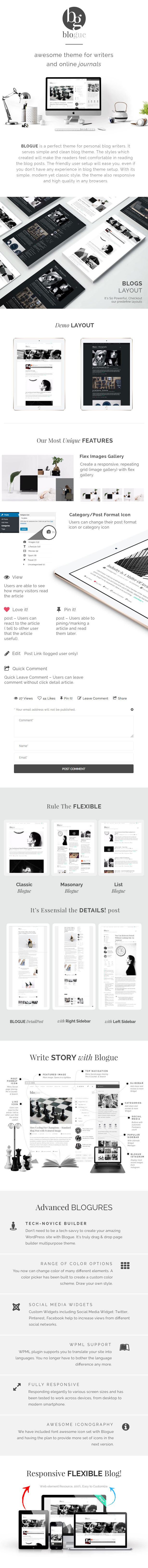 BLOGUE is a perfect theme for personal blog writers. It serves simple and clean blog theme. The styles which created will make the readers feel comfortable in reading the blog posts. The friendly user setup will ease you, even if you don't have any experience in blog theme setup. With its simple, modern yet classic style, the theme also responsive and high quality in any browsers