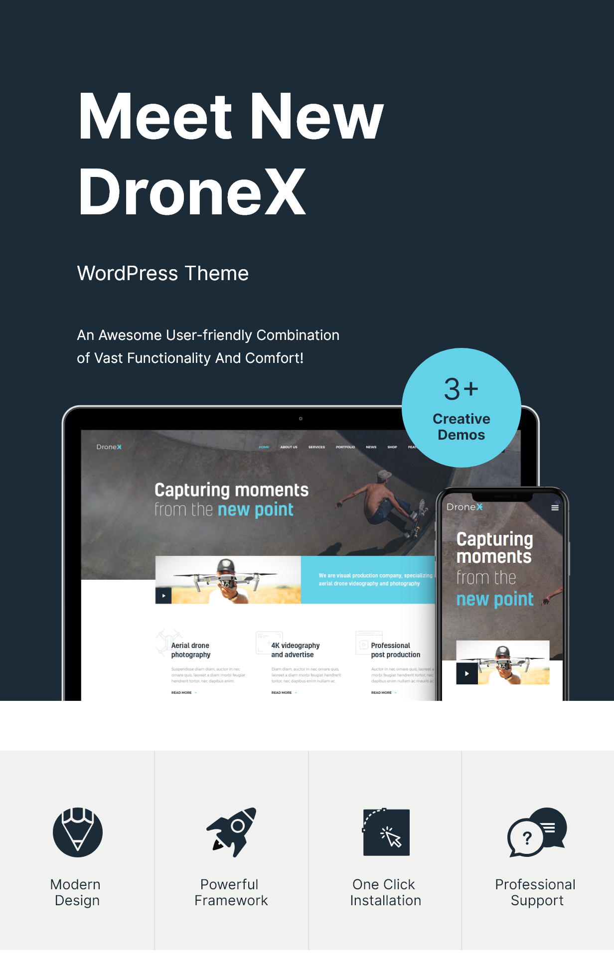 Aerial Photography & Videography WordPress Theme features